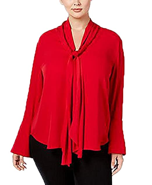 5d8a7e74af7 Rachel Roy Womens Plus Key Hole Kneck Bell Sleeves Blouse Red 3X  Amazon.ca   Clothing   Accessories