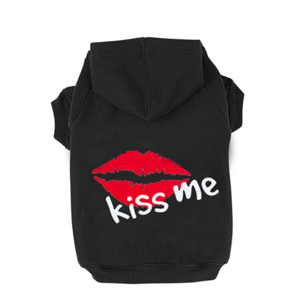 Fleece Dog Hoodies,Rdc Pet Apparel, 'Kiss Me' Rosy Lips Patterns Basic Hoodie Sweatshirt, Cotton Jacket Coat for Small Dog & Medium Dog & Cat (Black) (XXXL)