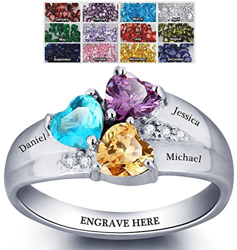 (Mothers Ring with Birthstones, Choose 3 Birthstones 3 Names and 1 Engraving Customized and Personalized Size 10)