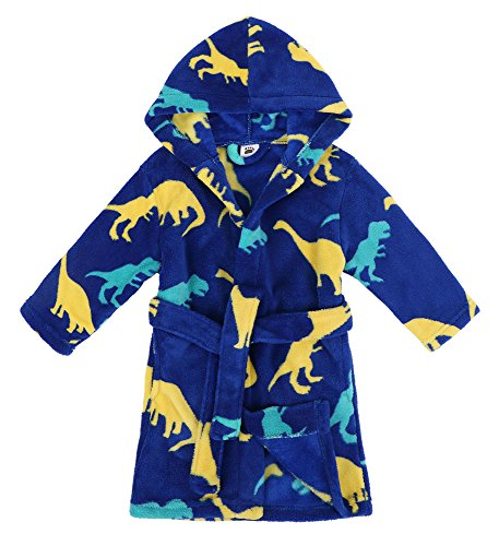 Verabella Boys Girls' Fleece Printed Hooded Beach Cover up Pool wrap,Dino-Land,M -