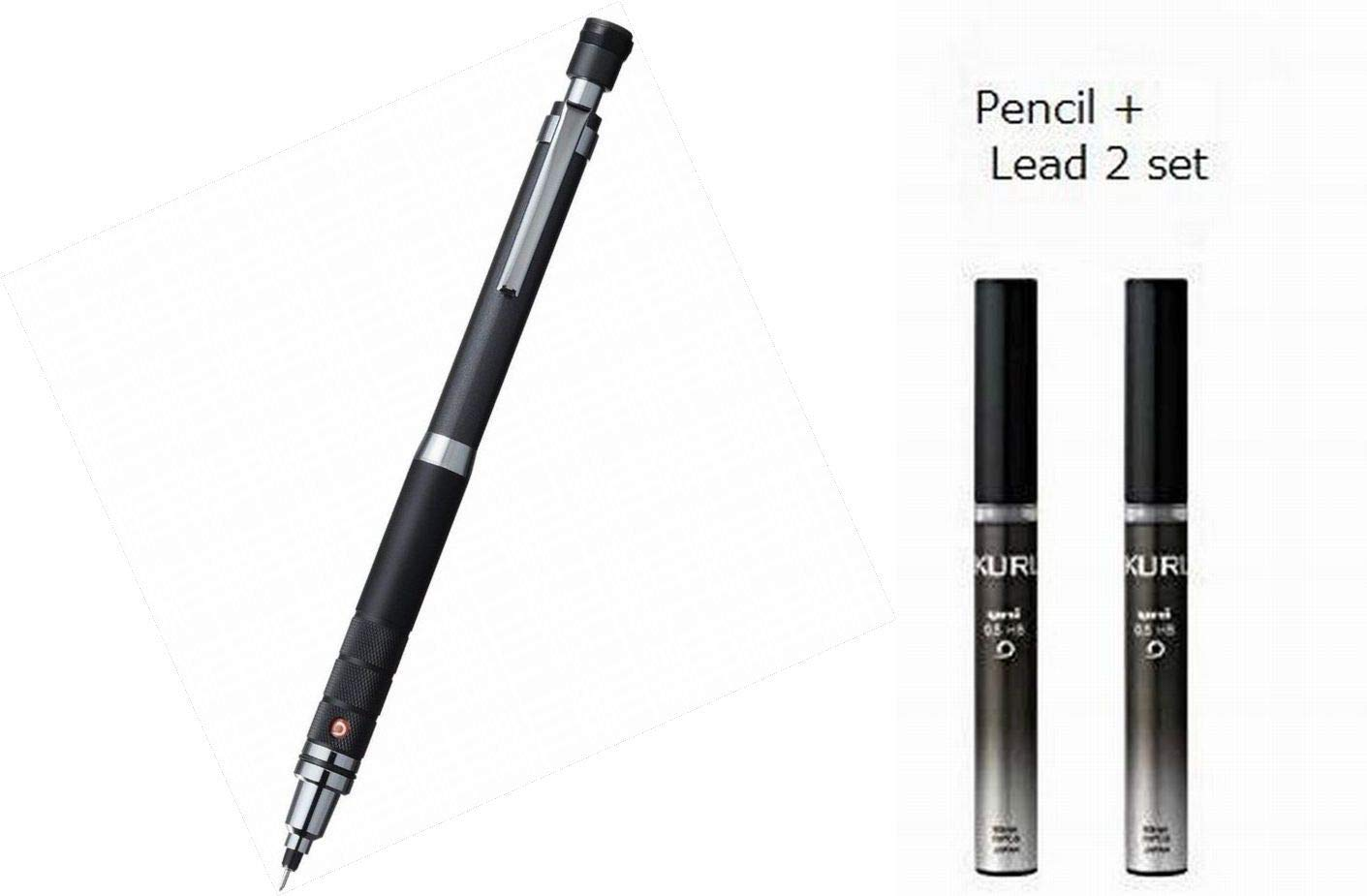 Uni Mechanical Pencil Kuru Toga Roulette Model 0.5mm Gun Metallic (M510171P.43) + Lead 2 Set (Pencil : Lead : U05203HB.24) by uni
