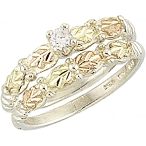 Black Hills Gold Sterling Silver Wedding Set (7) (Cubic Zirconia Gold Rings)
