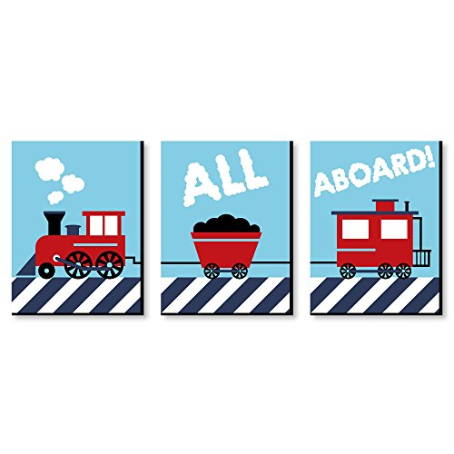 (Railroad Crossing - Steam Train Baby Boy Nursery Wall Art and Kids Room Decorations - 7.5 x 10 inches - Set of 3 Prints)