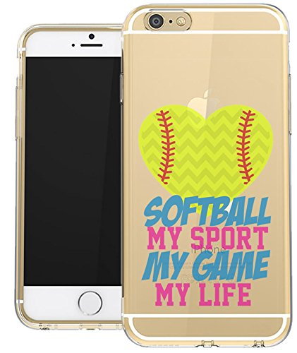 Transparent Pitcher (IPhone 6 PLUS Clear Case Softball My Game My Life Quote Teen Girls Teen Girls UNIQUE Designer CLEAR Transparent Gloss Candy TPU Flexible Slim Case Cover Skin for Apple iPhone 6 Plus 5.5)