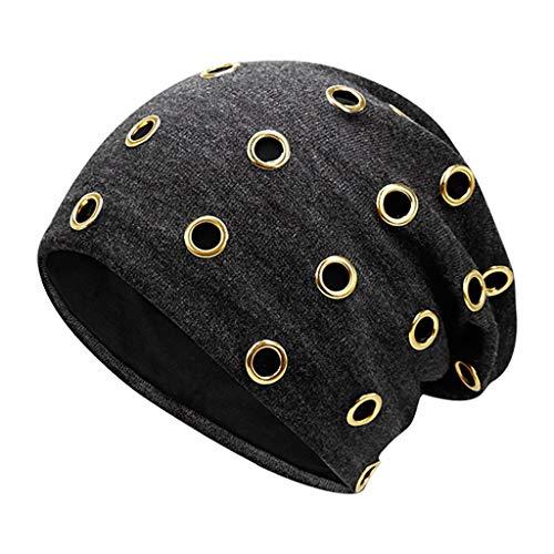 Kolylong Winter Hat Women Men Winter Knitted Hat Metal Circle Hemming Hat Wool Cap