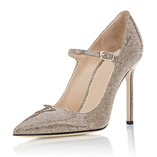 or Sexy Aiguille Haut 10cm briller Soireelady Mary 4 Cheville Janes Talon Femmes EscarpinsBride 6vYf7bgy