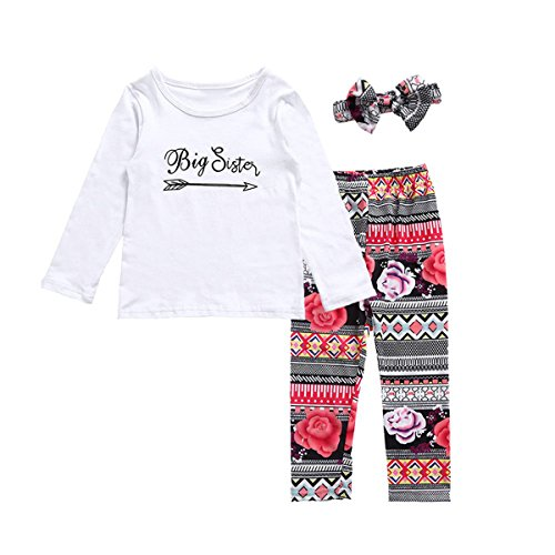 - Little Big Sister Matching Clothes Romper T-shirt + Floral Pant + Headband Outfits Set (2Y-3Y, Big Sister)
