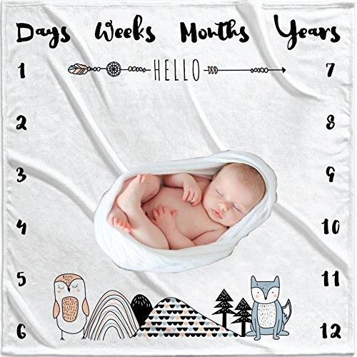 Gender Neutral Monthly Girls or Boys Photo Prop Grey Baby Milestones Blanket with Milestone Stickers Best Baby Shower Gift Soft Newborn Photography Background Large Blanket