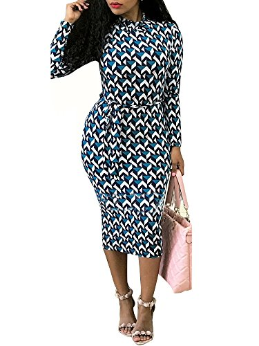 PlushZone Women's Sexy Casual High Neck Print Floral Bodycon Long Sleeve Dress With Blet - Elegant Homecoming Dresses
