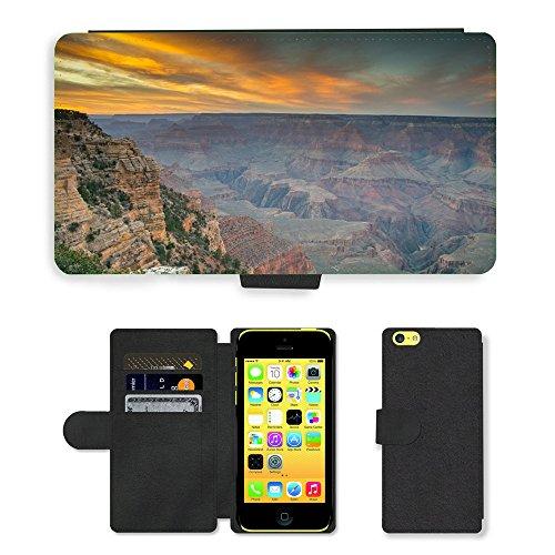 PU Leather Cover Custodia per // M00421769 Grand Canyon Amérique Nationa Célèbre // Apple iPhone 5C