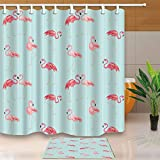 CdHBH Birds Decor Wallpaper with Cute Pink Flamingo 71X71in Mildew Resistant Polyester Fabric Shower Curtain Suit With 15.7x23.6in Flannel Non-Slip Floor Mat Bath Rugs Pink