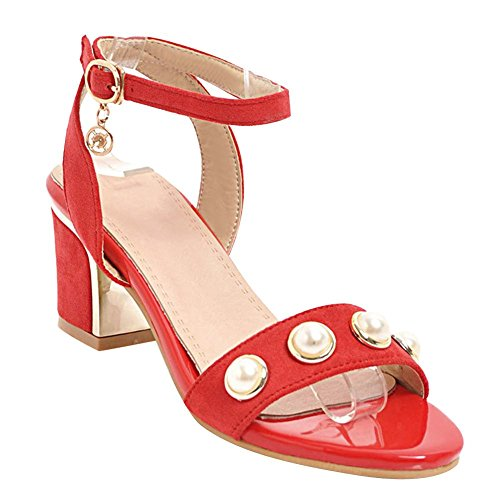 Carolbar Women's Grace Sweet Beaded Mid Heel Ankle Strap Sandals Red OXdco