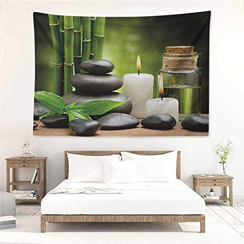 Spa,Tapestries for Sale Hot Massage Rocks Combined with Candles and Scents Landscape of Bamboo Print 93W x 70L Inch Mattress, Tablecloth Green White and Black