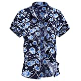 Gibobby Men Casual Summer Stand Collar Flower Printed Button Down Shirts Short Sleeve Hawaiian T-Shirt Top Blouse for Holiday