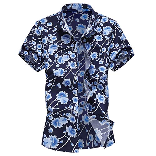 Gibobby Men Casual Summer Stand Collar Flower Printed Button Down Shirts Short Sleeve Hawaiian T-Shirt Top Blouse for -