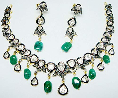 costozon uncut diamond necklace sets 23.84 Tcw Emerald Rose Cut Diamond 925 Sterling Silver vintage art deco jewelry
