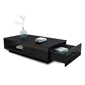 Luxsuite Coffee Table High Gloss Modern Side Table With 1 Storage