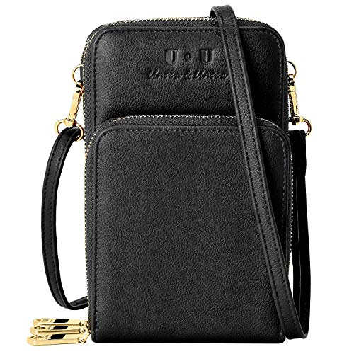 Functional Cell - Triple Zip Small Crossbody Bag, U+U RFID Blocking Leather Cell Phone Purses Functional Multi Pocket Shoulder Bags for Women Black