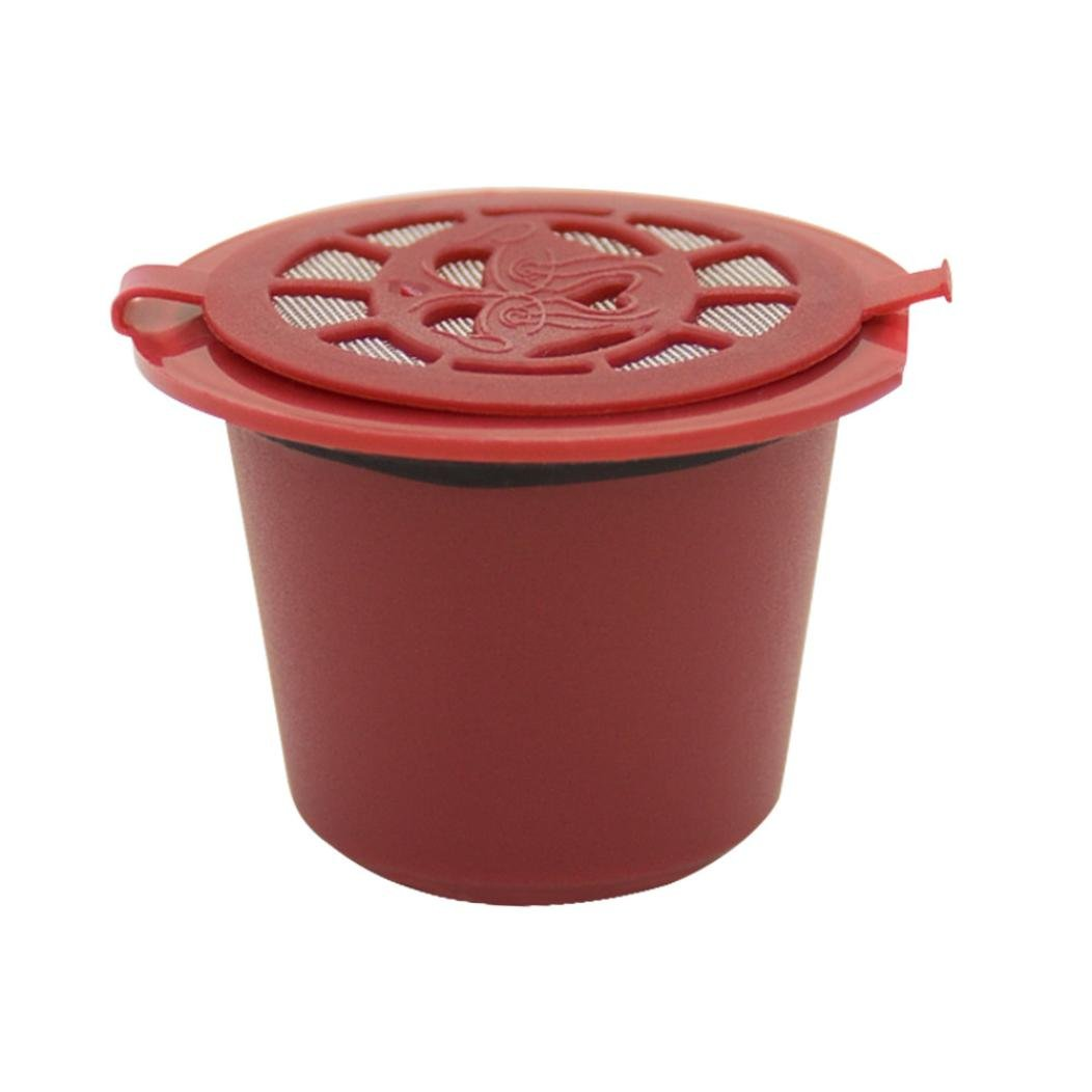 Clearance Sale!DEESEE(TM)Refillable Reusable Coffee Capsules Pods For Nespresso Machines Filter (Red)