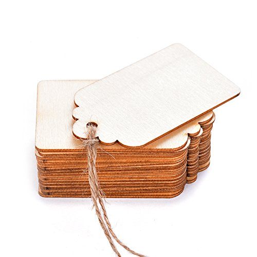 TMO Wood Tags Unfinished Wood Craft Supplies DIY Woodcrafts Blank Wooden Gift Tags Natural Hanging Wood Pieces for Wine,Decor,Wedding(100 Pcs)
