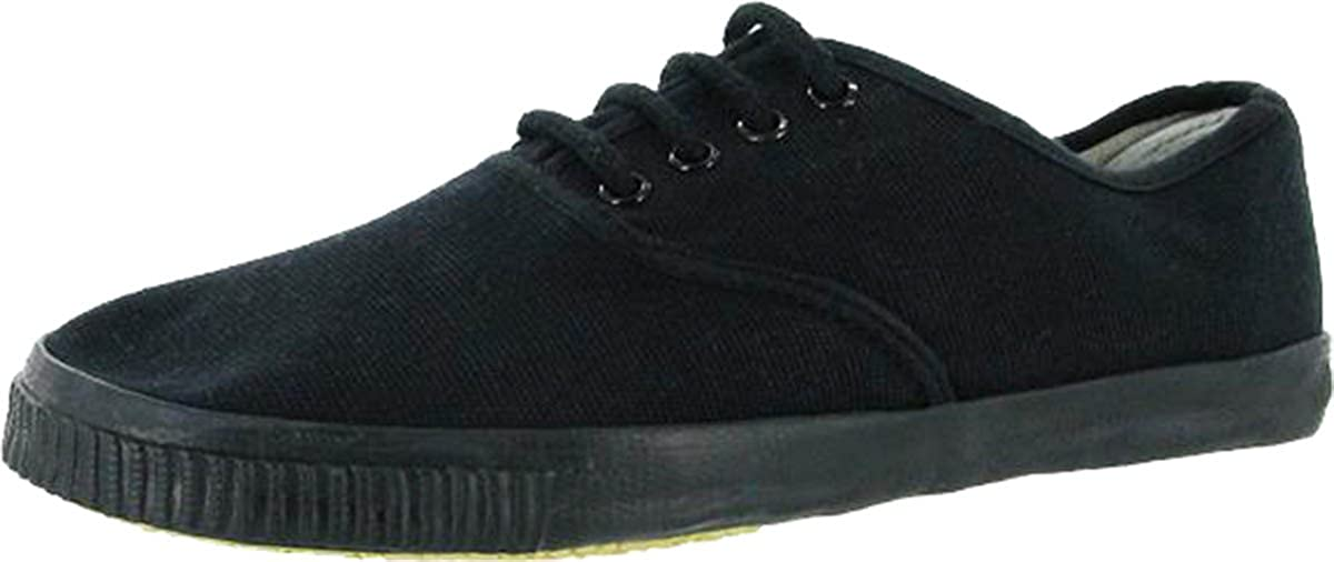 196aecd85057a New Mens Mirak Mono Black Lace Plimsoll Lace-up Footwear Gents ...