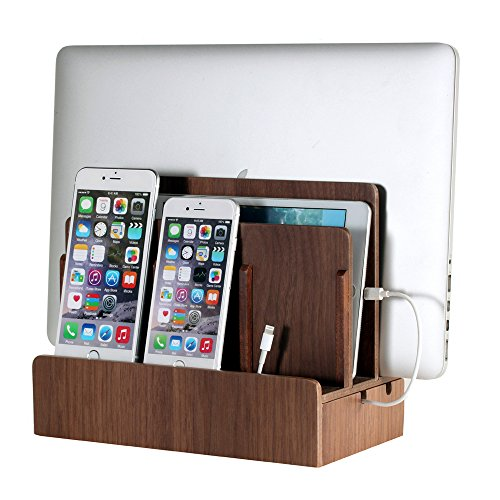 (G.U.S. Multi-Device Charging Station Dock & Organizer - Multiple Finishes Available. for Laptops, Tablets, and Phones - Strong Build, Walnut)