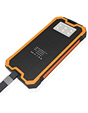 Solar Charger 16000mAh Power Bank Portable Phone Charger External Battery Pack with Dual USB 2 Ports and LED Flashlight Outdoor Waterproof for iPhone iPad Android Samsung and Other Phones - Orange