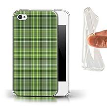 STUFF4 Gel TPU Phone Case / Cover for Apple iPhone 4/4S / Irish Plaid/Tartan Design / Green Fashion Collection