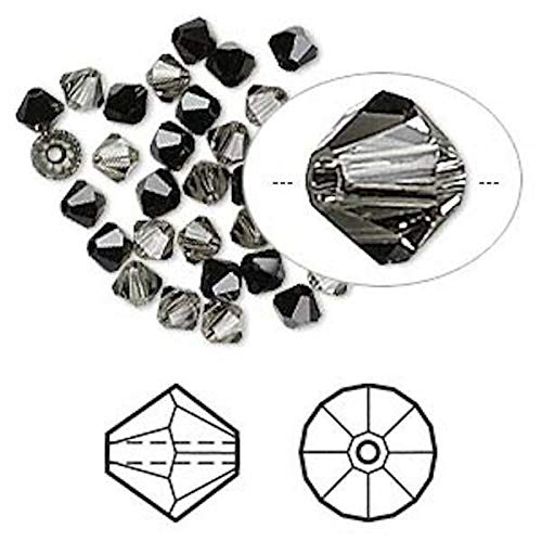 32 4Mm Jet, Black Diamond Faceted Crystal Bicone Bead Mix (5301) (Beads 5301 Crystal Bicone)