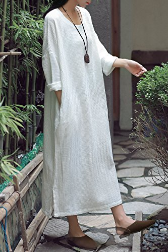 Waffle Soojun Line White Dress Women's A Cotton Linen CZZnX6wq