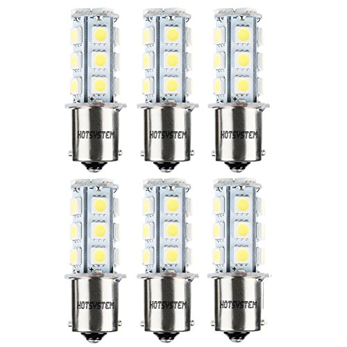 HOTSYSTEM 1156 1141 LED Light Bulbs DC12V 7506 P21W BA15S 18-5050SMD for Car RV SUV Camper Trailer Trunk Interior Reversing Backup Tail Turn Signal Corner Parking Side Marker Lights(Pack of 6,White)