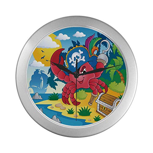 - C COABALLA Pirate Simple Silver Color Wall Clock,Cute Cartoon Crab with Eye Patch Pirate Hat Hook Pegleg Deserted Island Coast Jungle Decorative for Home Office,9.65