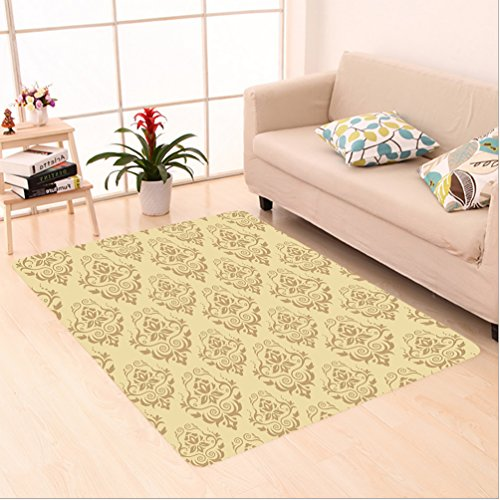 Nalahome Custom carpet Regular Damask Patterns Islamic Antique Lace Floral Patterns Oriental Style Decorative Art Beige area rugs for Living Dining Room Bedroom Hallway Office Carpet (2' X 8') by Nalahome
