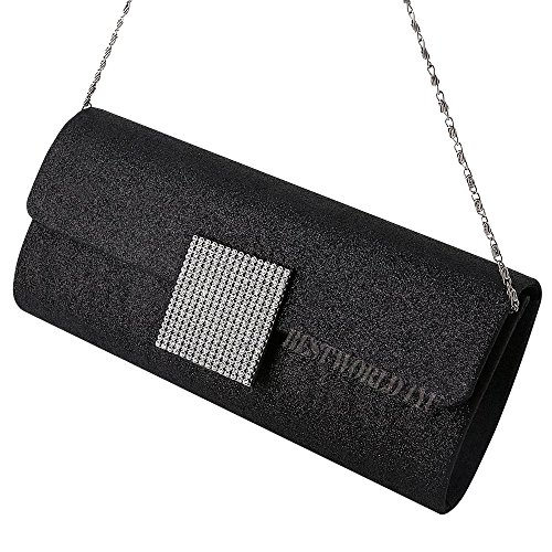 Shoulder HandBag Clutch Bag Evening Wocharm Purse SatinBridal Sparkle Black Prom Wedding Womens Tq00w1a