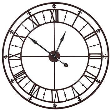 trendy fabulous grande horloge murale pendule gante en fer couleur marron rouille xcm with. Black Bedroom Furniture Sets. Home Design Ideas
