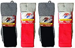 12 Pack Men's Work Thermal Socks Cotton Mix Colors Crew Tube