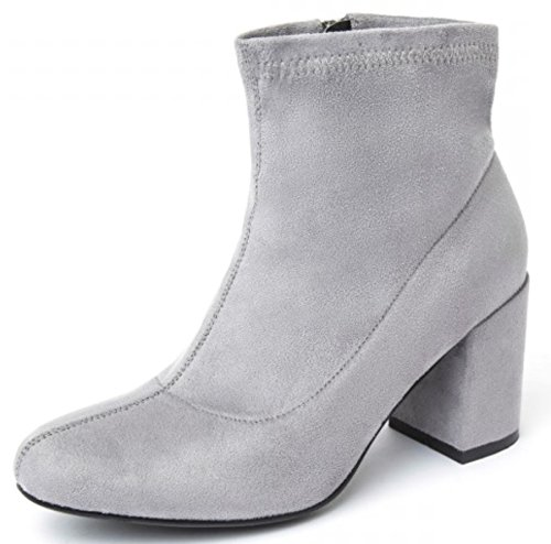 Ladies Womens Low Block Heel Chelsea Ankle Boots Stretch Faux Suede Side Zip Casual Winter Shoes Size Grey Q5E4NS