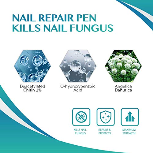 Puriderma Nail Repair Pen - Kills Anti-Fungus, Remove Discoloration, Prevent Future infection, Repair Brittle Finger Nails and Toe Nails, 4 Count by Puriderma (Image #1)