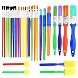 colored paint brushes - BTNOW 30 Pieces Kids Paint Brushes Colorful Artist Paint Brush Set Assorted Sizes for Watercolor, Oil, Acrylic & Tempra Paints and More