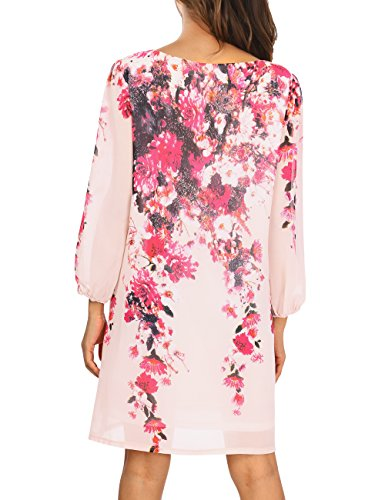 Loose Floral Sleeve Floral 4 Dress Pink Fit 3 Chiffon DJT Tunic Pattern Women's WwYqS7AH