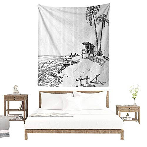 alisoso Wall Tapestries Hippie,Apartment Decor Collection,Sketched Figure of Summer Beach with Palm Trees and Lifeguard Stand Seascape Concept,Bla W55 x L55 inch Tapestry Wallpaper Home Decor