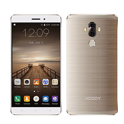 Xgody SmartPhone-W40-GLD-02 Android 7.0 16GB, 2GB Cell Phone Unlocked 6'' 4G FDD-LTE Fingerprint Dual Rear Camera (13MP, 3MP) Front Camera 5MP HD Screen - Gold by Xgody