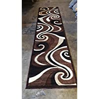 Modern Long Runner Area Rug Brown Americana Design 144 (32inches X 10 feet)