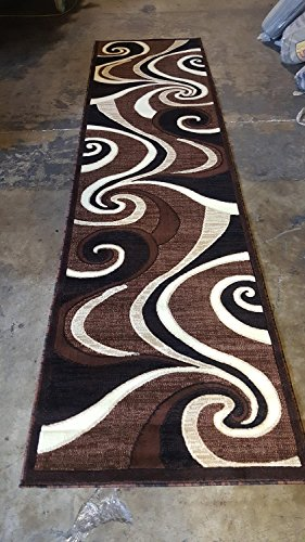 Americana Modern Long Runner Area Rug Brown Design 144 (32 Inch X 10 feet) by Americana