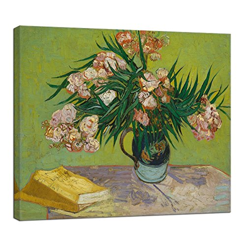 Wieco Art Oleanders 1888 Giclee Canvas Prints Wall Art by Van Gogh Floral Oil Paintings Reproduction for Home Decorations Modern Stretched and Framed HD Classic Abstract Flowers Pictures - Stretched 1888 Canvas