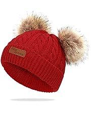 WELROG Baby Winter Warm Knit Hat Infant Toddler Kid Crochet Fur Hairball Beanie Cap