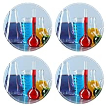 MSD Natural Rubber Round Coasters IMAGE ID: 34955256 Different laboratory glassware with colorful liquid on color background