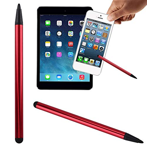 xxiaoTHAWxe 2 in 1 Universal Tablet Phone Touch Screen Pen Stylus for iPhone iPad Samsung - Red (Computer Pen Duster)