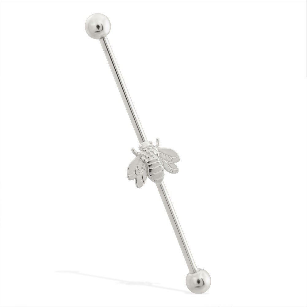 14K Gold Industrial Straight Barbell With Bumble Bee Charm, Gauge: 14 (1.6Mm), 14K White Gold, 1 1/2'' (38Mm) by Mr.Piercing
