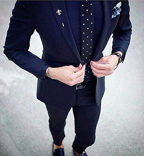 DMOR Men\u0027s Cotton Blend BlackBerry Style Suit (Blue, Free